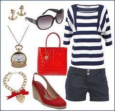Nautical outfit! I just need something red to complete today's outfit ! Darn