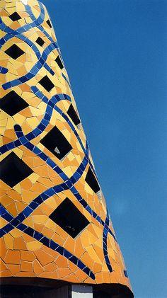 Gaudi mosaic chimney