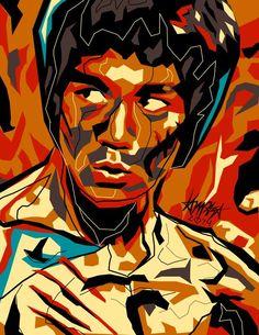 Pop Culture Illustrations by Dri Ilustre - portrait of legendary martial artist & film star Bruce Lee Bruce Lee Poster, Bruce Lee Art, Power Pop, Cultura Pop, Roy Lichtenstein, Andy Warhol, Pop Art, Enter The Dragon, Modern Impressionism