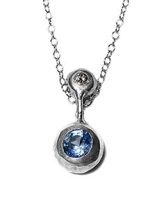 You and Me Pendant with Blue Topaz and Cognac Diamond, Reinerland