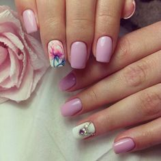 Evening nails, Medium nails, Nails ideas 2017, Nails ideas with flowers, Nails trends 2017, Nails with rhinestones ideas, Pale pink nails, Party nails