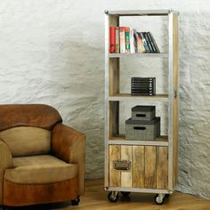 Roadie Chic Reclaimed Wood Tall Bookcase (with Door) -  - Bookcase - Baumhaus - Space & Shape - 5