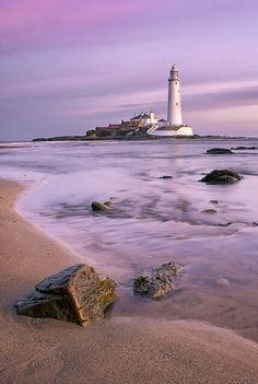 Mary's Lighthouse is on the tiny St Mary's (or Bait) Island, just north of Whitley Bay on the coast of North East England. Lighthouse Pictures, Beacon Of Light, Belle Photo, Wonders Of The World, Beautiful Places, Scenery, Places To Visit, Around The Worlds, Vacation