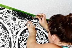 Stenciling tutorial for a DIY accent wall in black and white using the Charlotte Allover Stencil.   http://www.cuttingedgestencils.com/charlotte-allover-stencil-pattern.html?utm_source=JCG&utm_medium=Pinterest&utm_campaign=Charlotte%20Allover%20Stencil%20Pattern