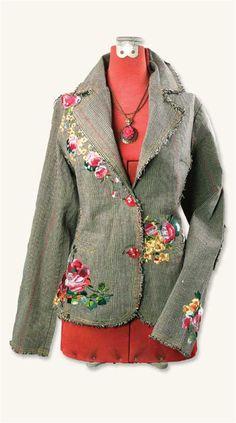 Embroidered tweed jacket