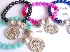 Pulsera medalla angel con piedras naturales de cuchicuchi
