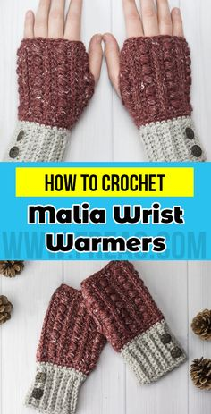 crochet Malia Wrist Warmers free pattern       #FingerlessMittens  #crorchet #freecrocehtpattern Cute Crochet, Vintage Crochet, Crochet Crafts, Crochet Yarn, Crochet Projects, Crochet Ideas, Crochet Tutorials, Crochet Shrugs, Yarn Projects