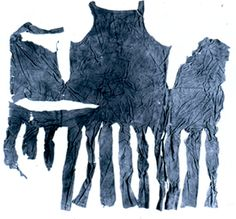 Coat found in a Liechestershire coal mine and dated to late 1400s-early 1500s. In blue and yellow. Belonged to a miner, but likely came from higher up the social scale.