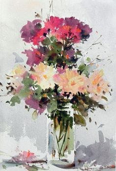 Artist Corneliu Dragan-Targoviste: maestro of watercolors , Watercolor Pictures, Watercolor Artists, Watercolor Drawing, Watercolor Landscape, Watercolor Illustration, Watercolor Paintings, Watercolors, Floral Wall Art, Arte Floral