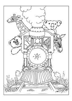 Image à colorier montrant la joie des animaux pendant un voyage en train