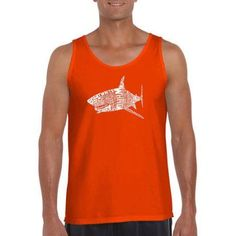 Los Angeles Pop Art Men's Tank Top - Species Of Shark, Size: Medium, Orange