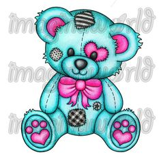 pink teal and black patched teddy bear. Would be a really cute tattoo.