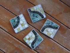 Mosaic coasters set of 4 green stained glass by MosaicsbyEvie
