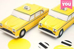 Taxi Cab Favor Box : Diy Printable Yellow Checker Cab PDF - Instant Download