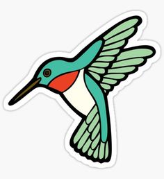 """""""Hummingbird Pattern """" Stickers by evannave Stickers Cool, Tumblr Stickers, Printable Stickers, Laptop Stickers, Teal Background, Box Patterns, Aesthetic Stickers, Scrapbook, Sticker Design"""