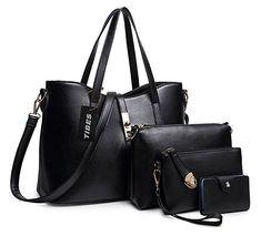 Tibes Fashion Women's PU Leather Handbag+Shoulder Bag+Purse+Card Holder 4pcs Set Tote Black