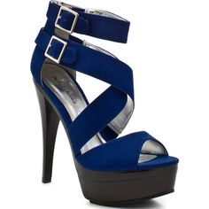 Michael Antonio Women's Terah - Blue Suede ($59) ❤ liked on Polyvore featuring shoes, sandals, heels, zapatos, sapatos, platform, open toe, stiletto heels, trendy and women