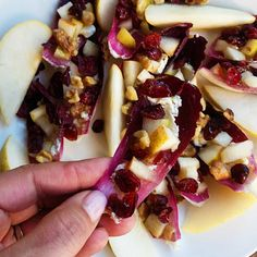Pear Cranberry Endive Appetizer, a super healthy appetizer to bring to a party--gluten-free, low carb, drizzled with honey, and delicious!