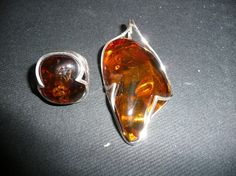 Amber & silver ring: a present.  Amber & silver pendant: bought in Frankfurt