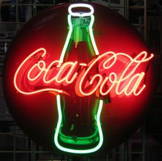 "Original Coca-Cola 24"" Round Button Neon (circa 1950's) 