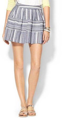 JOA Textured Stripe Mini Skirt