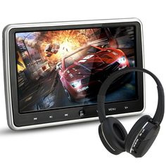 """Amazon.com: NOAUKA 10.1"""" Ultra Thin Portable Digital HD TFT LCD Headrest DVD Player Car Multimedia Wide Screen Display Player Headrest Monitor with HDMI and Remote Control and IR Headphone Price:$102.99"""