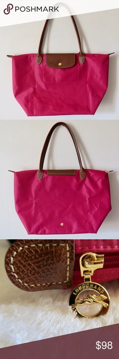 """Longchamp Le Pliage Large Pink Shoulder Bag This model with streamlined handles and a leather, snap-fastening button flap. 100% authentic. Ideal for everyday use, LE PLIAGE is light as a feather, folds away to the size of a paperback, and is durable enough to keep all your essentials.  Depth: 12"""" Length: 18.5"""" Width at base: 7.5"""" Strap Drop: 9"""" long  Minimum signs of wear inside (see pic of interior, hardly noticable) and one of the corners is slightly dirty (was not able to catch in a…"""