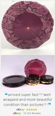 """These plates are truly stunning and very unusual - even more lovely than photos can convey! Use as a large 13"""" dinner plate or even as a charger underneath a smaller plate - dramatic and sure to please your guests. We have coordinating  salad plates too. Amethyst Vtg Intaglio Glass Platter Charger Chop Plate from Italy. -  ."""
