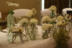 Could have different sized jars with your colour flowers in going along the length of the top table, to match the centre pieces on your guest tables Wedding Bouquets, Wedding Flowers, Wedding Day, Table Wedding, Unique Wedding Favors, Unique Weddings, Vintage Weddings, Wedding Table Decorations, Wedding Themes