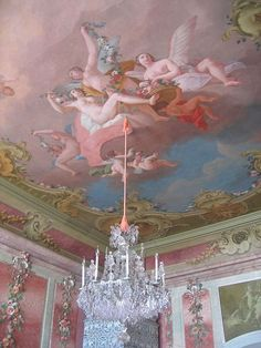 Angelic ceiling and chandelier