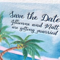 Watercolor beach letterpress wedding invitations. www.mospensstudio.com