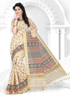 If you are a diva who loves to turn heads wherever you go and this delightful drape is a must-have item for your closet. Add richer looks to the personality in such a majestic beige cotton   casual saree. The charming patch border work throughout the dress is awe inspiring. Comes with matching blouse.