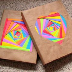 DIY Colorful Bookcovers (Using Iris Folding Technique) This tutorial promotes using Astrobrites paper specifically, but I can't see any reason why you can't just use any old scraps of plain or patterned paper leftover from previous projects! Fun Crafts, Diy And Crafts, Crafts For Kids, Arts And Crafts, Recycled Crafts, Summer Crafts, Iris Folding, Book Folding, Paper Folding