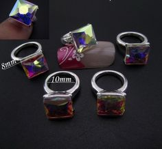 White AB Square Silver Ring 3D Nail Art DIY Charm Decoration