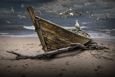 Gulls Flying over a Shipwrecked Wooden Boat on the Beach Shore amidst incoming Waves A Fine Art Lake Michigan Photographic Image Mago Tattoo, Lac Michigan, Elephant Photography, Rivage, Boat Painting, Wood Boats, Framed Canvas Prints, Shipwreck, Paisajes