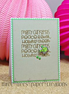 Happy Little Stampers entry Christmas text card CAS
