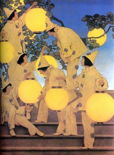 Maxfield Parrish (American:1870 – 1966) - The Lantern Bearers