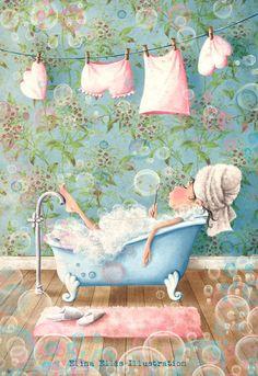 Cute bathtub art. http://aufildelaviecejour.blogspot.com/: Le joli monde d'ELINA ELLIS