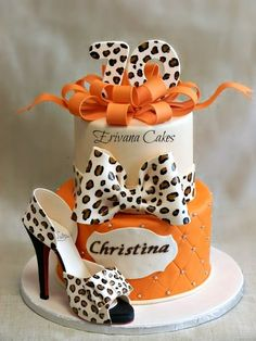 Leopard Skin Cake with Edible Shoe
