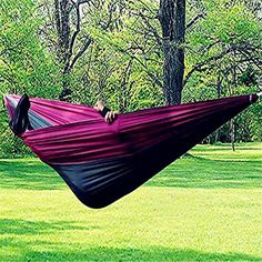 Pevor Outdoor Nylon Fabric Hammock Double Parachute Bed for Travel Camping 270 130 270130 >>> Check out the image by visiting the link.