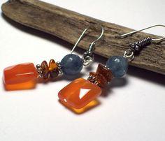riverpebble stonewear ~ handmade jewelry - ALYSSA Carnelian Earrings with Amber and Aquamarine