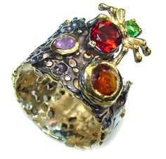 $59.25 Amazing!+Amethyst+&+Garnet+&+Peridot,+Gold+Plated,+Rhodium+Plated+Sterling+Silver+ring+s.+7 at www.SilverRushStyle.com #ring #handmade #jewelry #silver #amethyst