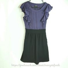 """BCBG Paris Purple and Black Dress size 6 BCBG Paris Purple and Black Dress size 6 in excellent used condition. Cap sleeves. Side zipper. Side pockets. Fully lined. Shell: 59% Polyester, 36% Rayon, 5% Spandex. Contrast: 100% Polyester. Lining: 100% Acetate.   Waist from Seam to Seam: 13"""" Length from Top: 37""""  Please let me know if you have questions. Happy Poshing! BCBG Paris Dresses"""
