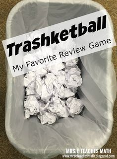 Trashketball: My Favorite Review Game - keep kids excited and engaged, free download included   mrseteachesmath.blogspot.com