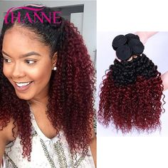 100.00$  Know more  - Burgundy Ombre Brazilian Curly Hair 3pcs 7A Brazilian Kinky Curly Virgin Hair Thick Bundle Human Hair Weave Hanne Hair Products