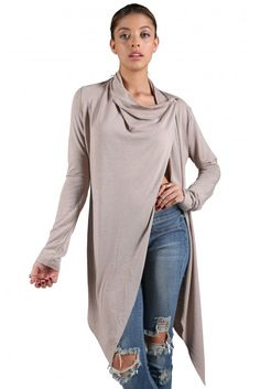 Taylor Wrap Cardigan in Taupe | Necessary Clothing
