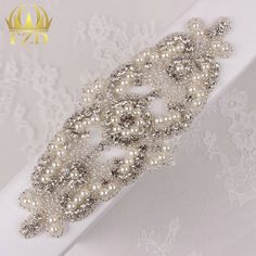(30pieces) Wholesale Hot Fix Iron On Rhinestone Beaded Applique Crystal Sew On…