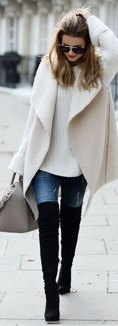 Vest: By Lene Orvik // Jumper: One Teaspoon // Jeans: Gina Tricot Bag: Givenchy // Over knee-boots: Asos // Sunglasses: Prada