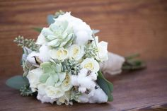 Fall Wedding Bridal Bouquet; Succulents; Cotton; Roses; Burlap; Southern Wedding; Oak Level Farm