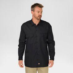 Dickies Men's Original Fit Twill Long Sleeve Shirt-Black XX-Large, Size: Xxl, Black